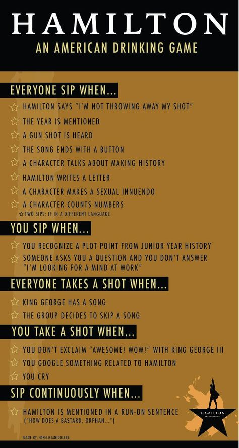 The Hamilton Musical Drinking Game