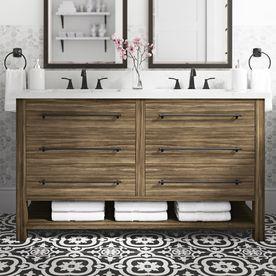 Allen Roth Kennilton 60 In Gray Oak Undermount Double Sink Bathroom Vanity With White Carrera Engineered Stone Top Lowes Com Double Sink Bathroom Vanity Bathroom Sink Vanity Double Sink Bathroom