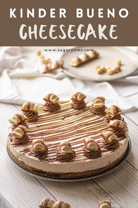 A rich and creamy Kinder Bueno cheesecake with crunchy cookie base and luscious chocolate hazelnut filling. Drizzled with Kinder chocolate and topped Kinder Bueno chocolate bars, this cheesecake is seriously next level!