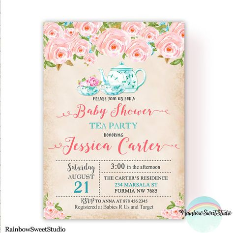 Tea Party Baby Shower Invitation Floral Watercolor Baby