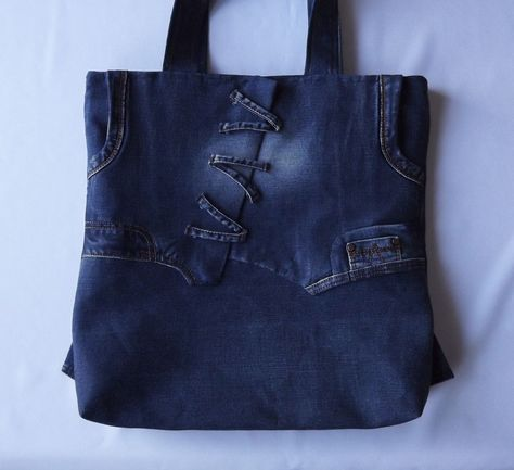 Blue crossbody womens recycled jeans bag. Beautiful shoulder