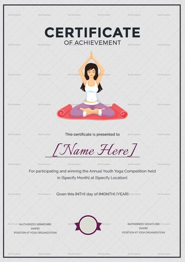 Yoga Achievement Certificate Template  Formats Included  Ms