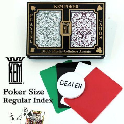 Kem Jacquard Burgandy Green Poker Size Jumbo Index Playing Cards