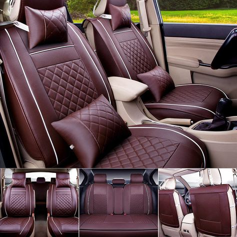 Universal 5-Seat Car Seat Cover Protector w//Pillows Front+Rear Ice Silk Cushions