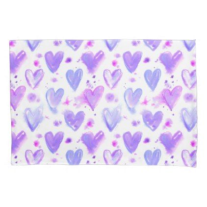 Purple Passion Watercolor Hearts Pillow Case Pillowcases Pillowcase Home Bed Bedding Living Custom Pillow Cases Heart Pillow Watercolor Heart