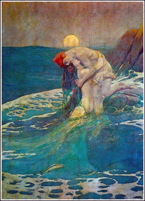 MERMAID SIREN OCEAN SEA GIRL COMBING HAIR PEARLS PAINTING BY WATERHOUSE REPRO