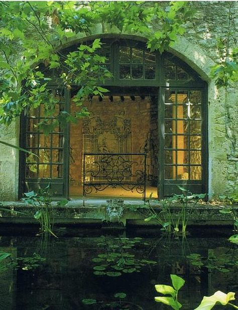 house and pond. Century House and Pond, France photo via always Provence Interior, The Secret Garden, Hidden Garden, France Photos, Lily Pond, Interior Exterior, 17th Century, Windows And Doors, Arched Windows