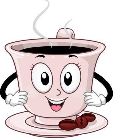 Mascot Ilustracion De Una Humeante Taza De Cafe Taza Dibujo Tazas De Cafe Dibujo Arte Del Cafe