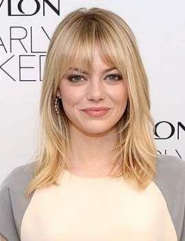 43 Trendy Hairstyles For Medium Length Hair Round Face Bangs Emma Stone Medium Hair Styles Emma Stone Hair Medium Length Hair Styles