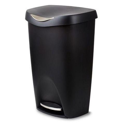 Black Kitchen Trash Can Wastebasket W Lid Recycling Bin Covered