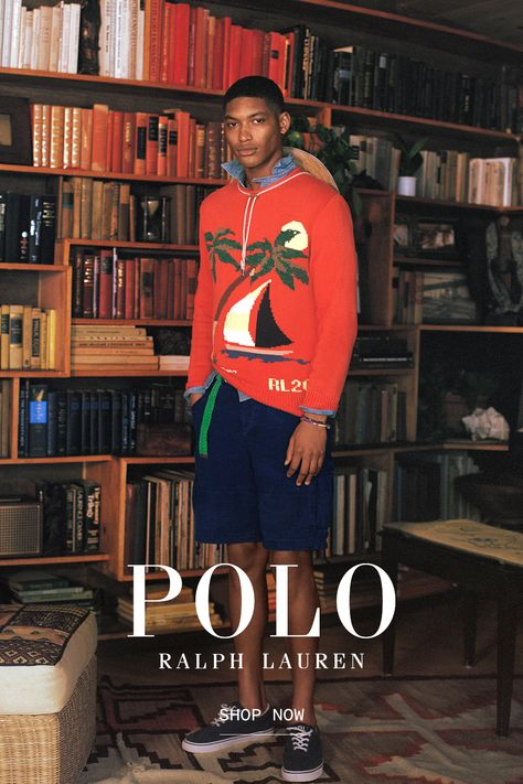 Easy layers and essential accessories, for slow days at home or a gentle beach breeze. Knit Fashion, Mens Fashion, Polo Fashion, Stylish Men, Men Casual, Ralph Lauren Shop, Cute Black Guys, Ivy Style, Prep Style