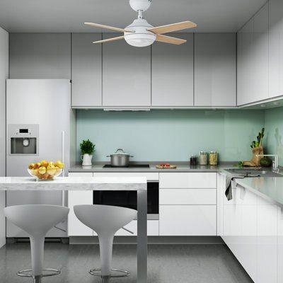 Ventilador de techo con luz LED INSPIRE Nashi 91 cm Blanco