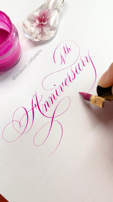 It's an old video. My 4th anniversary was last November! 😂 #calligraphy#copperplatecalligraphy#pointedpencalligraphy#handwriting#lettering#learncalligraphy