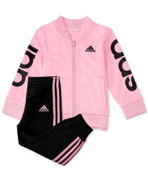 adidas Baby Girls 2 Pc. Jacket & Jogger Pants Set Pink 12M