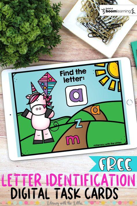 Digital Task Cards for PreK Alphabet Activities, Kindergarten Activities, Classroom Activities, Letter Identification Activities, Classroom Ideas, Preschool Alphabet, Online Classroom, Autism Education, Special Education