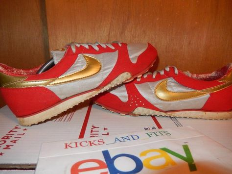 los angeles 84b76 fe905 Vintage 1985 Nike Metallic Gold   Red Flame Tech Track Spikes Rare 10  Running og  Nike  AthleticSneakers