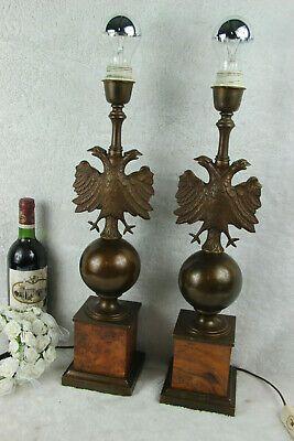 Mid Century Pair Empire Double Eagle Bronze Metal Wood Lamps 1960 Wood Lamps Lamp Mid Century