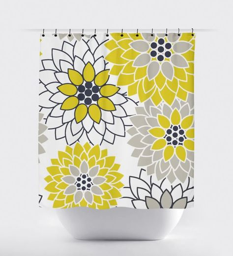 Navy Blue And Mustard Yellow Flower Shower Curtain