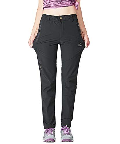 Womens Hiking Trousers Outdoor Lightweight Capris Climbing Pants Quick Dry UV Protection with Zipper Pockets