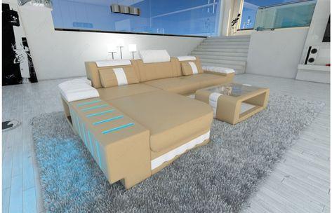 Designersofa BELLAGIO LED L Form In Grau Schwarz