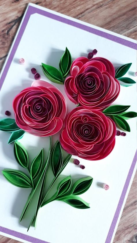 Quilling Greeting Card with Pink Paper Roses and Green - Nativity Diy How to Make Neli Quilling, Quilled Roses, Paper Quilling Cards, Paper Quilling Flowers, Paper Quilling Patterns, Origami And Quilling, Quilled Paper Art, Quilling Paper Craft, Quilling Flower Designs