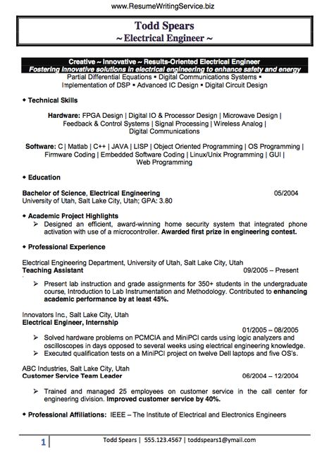 Electrical Engineer Resume Sample Doc (Experienced) resume - electronics engineering resume samples