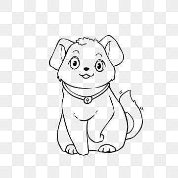 Dog Clipart Black And White Hand Drawn Cartoon Style Pet Dog Lineart Dog Clipart Black And White Clipart Black And White Lovely Dog Png Transparent Clipart I Dog Clipart Black And