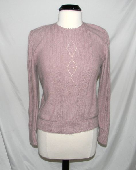 Vintage alpaca sweater baby pink made in Peru size by FeliceSereno, $20.00