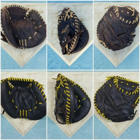 Mizuno Catcher S Mitt Relaced In Bright Yellow Gold Then Cleaned And Conditioned Baseball Glove Custom Baseballs Yellow Gold