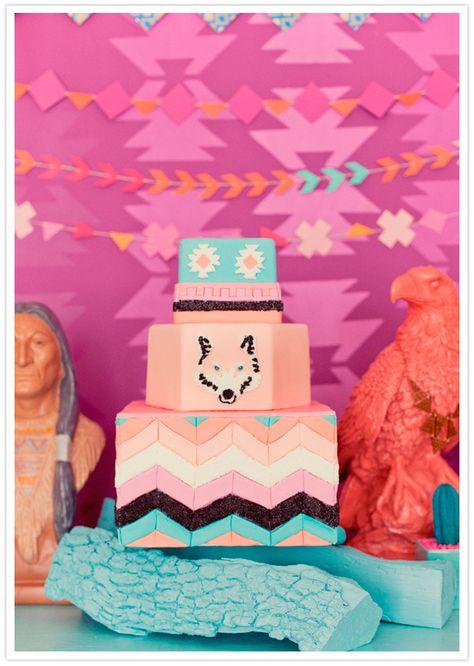 desert shades of chevron and wolf decorated wedding cake