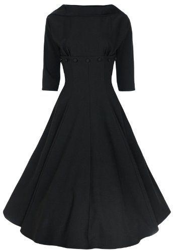 Fashion Bug Womens Plus Size Marla Jackie O 1950s 1960s 3/4 Sleeve Dress www.fashionbug.us