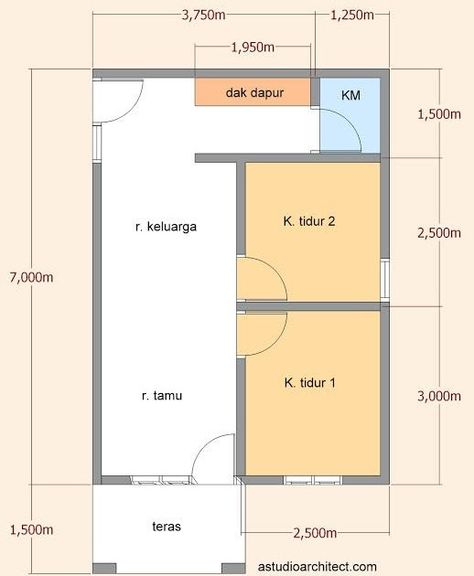 Rumah Minimalis 6x8 1 Lantai : rumah, minimalis, lantai, Desain, Rumah, Minimalis, Ukuran, Lantai