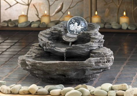 moving ROLLING BALL rock cliff stone waterfall meditation garden water Fountain #Unbranded