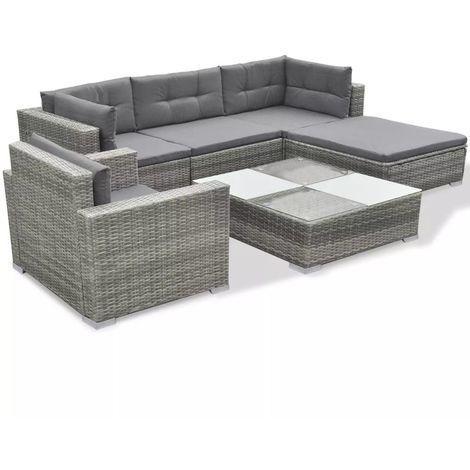 6 Piece Garden Lounge Set With Cushions Poly Rattan Grey Outdoor Sofa Sets Rattan Corner Sofa Rattan Furniture Set