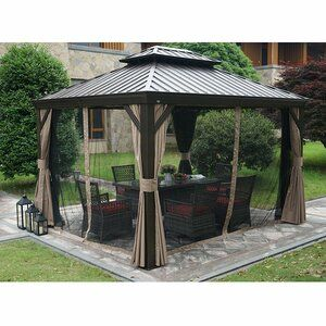 Dahlin Hardtop 12 Ft W X 10 Ft D Aluminum Patio Gazebo In 2020 Small Gazebo Gazebo Roof Permanent Gazebo