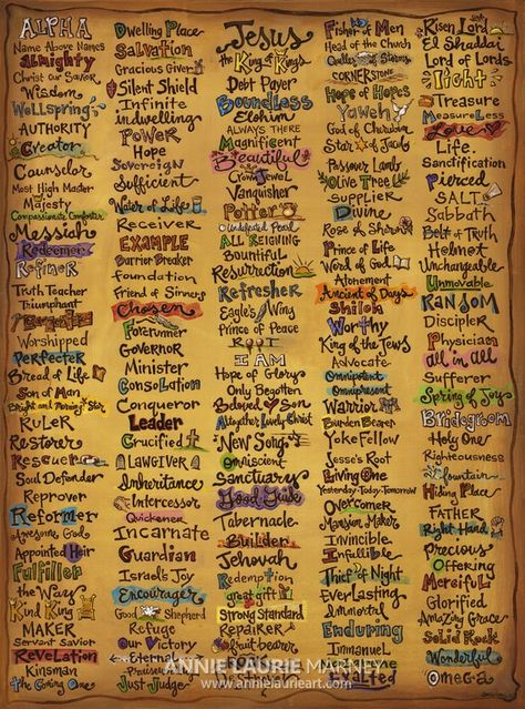 The Names of God canvas print is a giclee reproduction that focuses on the names and characteristics of God found throughout Scripture. Several of the names have illustrations incorporated to highlight a unique attribute. This inspirational canvas will serve as a visual reminder of Gods greatness