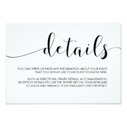 Simple Minimalist Calligraphy Wedding Details Card Wedding