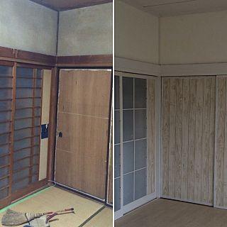 部屋全体 壁紙屋本舗さん 和室を改造 築40年以上のマイホーム 漆喰