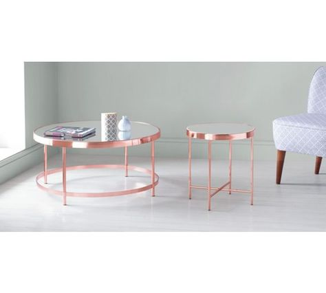 Buy Collection Round Glass Top Coffee Table Copper Plated