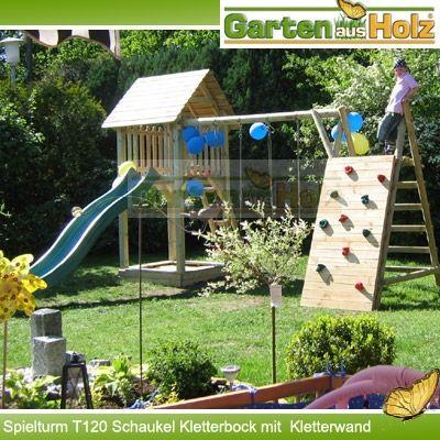 Trendig Spielturm aus Holz mit Rutsche Schaukel Sandkasten Kletterturm  OP09