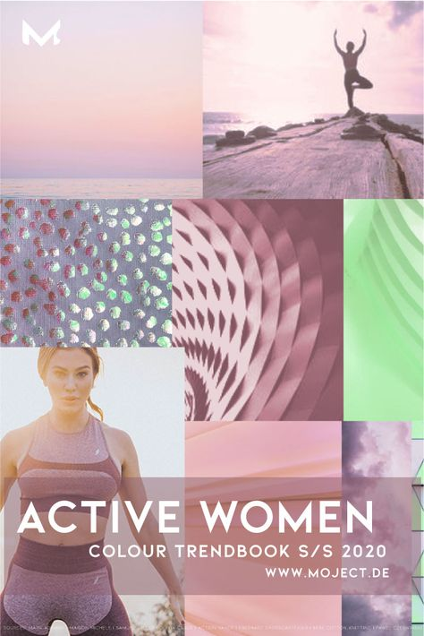 4 colour trend stories for womens activewear Spring/Summer 2020. Inspirational moodboards with colours and graphic direction .Fabric advice with sources. Covers sports categories as yoga, fitness, running, tennis, athleisure. #fashioncollage #fashiontrend #activewomen #activewear #moodboard #summer2020 #colourpalette #luxuryyoga #yogawear #trendforecast #trendbook #fabrics2020