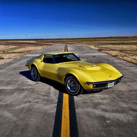 yellow Chevrolet Corvette C2 coupe #chevrolet #corvette #1969 #yellow #2K #wallpaper #hdwallpaper #desktop