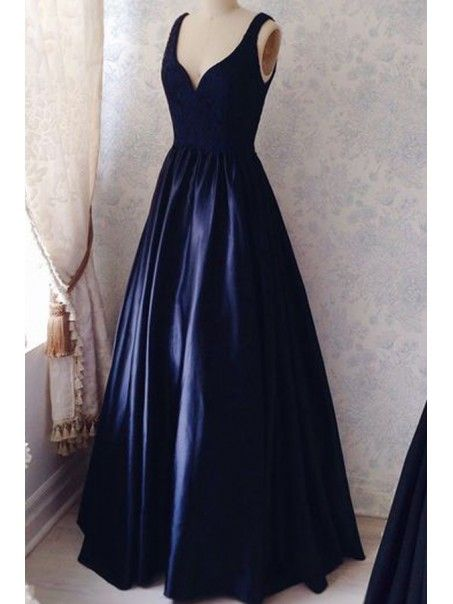 Long Blue Lace Satin V-Neck Prom Formal Evening Party Dresses 996021513