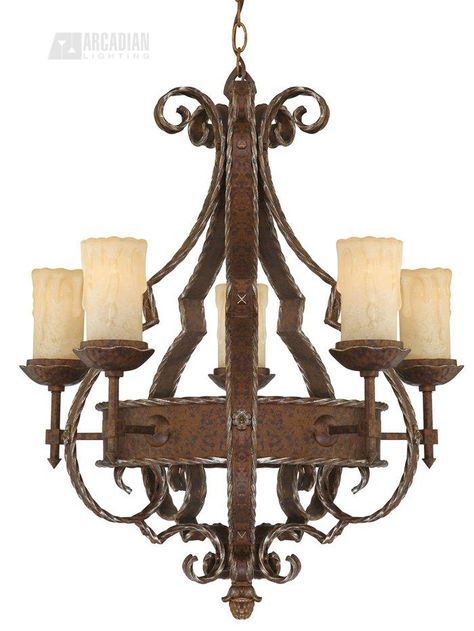 Traditional 5 Light Brass And Unique Glass Chandelier