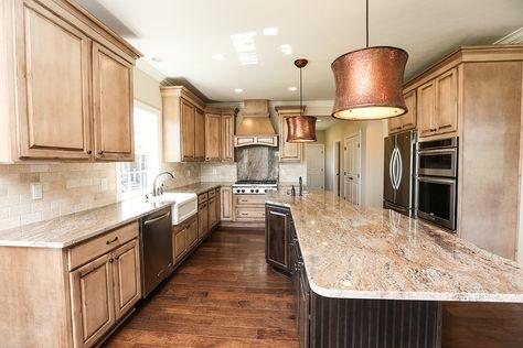 Hand Scraped Wood Flooring with Travertine 3x6 Backsplash Tile  |  Tuscan Interior Design  |  Old World Style  |  Kitchen Ideas