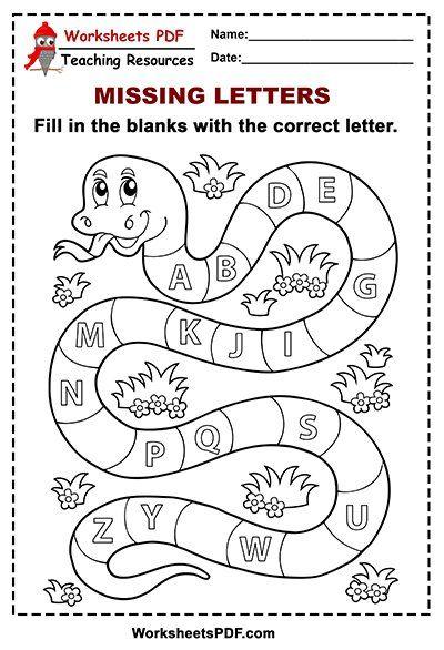 Free Printable Snake Alphabet Missing Letters Worksheets Pdf Alphabet Worksheets Preschool Free Preschool Worksheets Alphabet Worksheets Kindergarten Printable worksheets missing letter