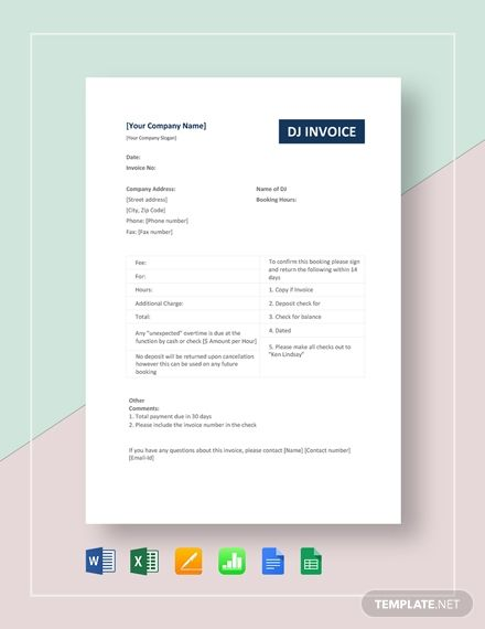 Dj Invoice Template Free Pdf Google Docs Google Sheets Excel Word Template Net Invoice Template Contract Template Invoice Template Free