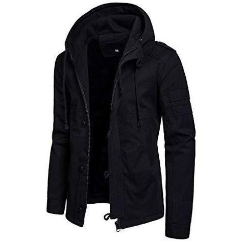 Men's Military hooded Jacket Cotton Two Pocket - Black / Large/46.5Bust