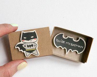 "Batman Love Card/ Funny Anniversary Card/ ""You are my Batman"" Matchbox / The Dark knight card/ LV029"