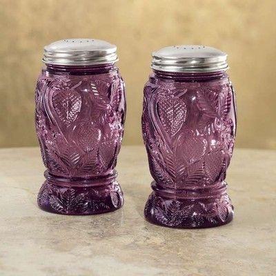VINTAGE REPLICA AMETHYST GLASS STRAWBERRY DESIGN SALT & PEPPER SHAKER SET NEW